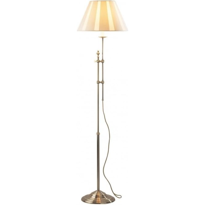 Dar Lighting Knightsbridge Single Light Rise And Fall Floor Lamp In Antique Brass Finish