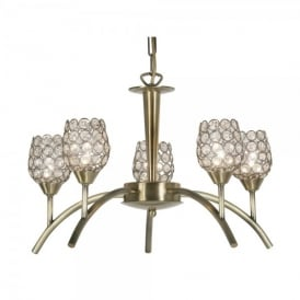 Koge 5 Light Ceiling Multi Arm Chandelier in Antique Brass Finish