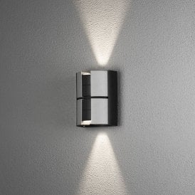 425-753 Vidar 2 Light High Powered Dimmable LED Outdoor Aluminium Wall Fitting in Black and Silver Painted Finish