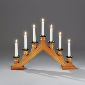 7 Light Candle Bridge Welcome Light In Oak Stained Finish