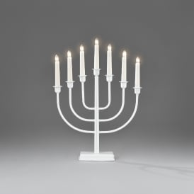 Konstsmide 7 Light Candlestick in White Lacquered Metal Finish