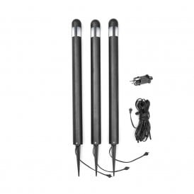 7452-750 Set of 3 High Powered LED Post Lights with Frosted Acrylic and a Black Steel Finish