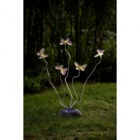 7628-000 Assisi LED Cluster Of 5 Solar Outdoor Butterfly Light With Twinkling LED's