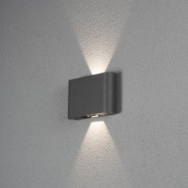 7854-370 Chieri 2 Light High Powered Integrated LED Aluminium Wall Fitting in Painted Anthracite Finish