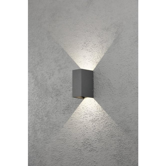 Konstsmide 7940 370 Cremona 2 Light Led, Modern Outdoor Wall Lights Anthracite Grey