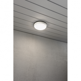 7974-250 Cesena Single High Powered LED Round Wall Fitting in Aluminium with Opal Glass