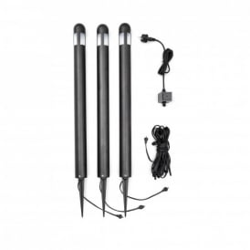 Amalfi Set of 3 Outdoor Post Lights with Frosted Glass and a Black Finish