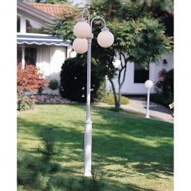 Arcturus 3 Light Outdoor Post Light Head in Matt White Finish With Opal Acrylic Diffuser