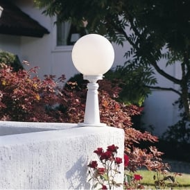 Arcturus Single Light Outdoor Post Light Head in Matt White Finish With Opal Acrylic Diffuser