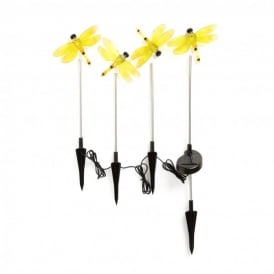 Assisi LED Set Of 4 Solar Outdoor Dragonfly Ground Spike Lights