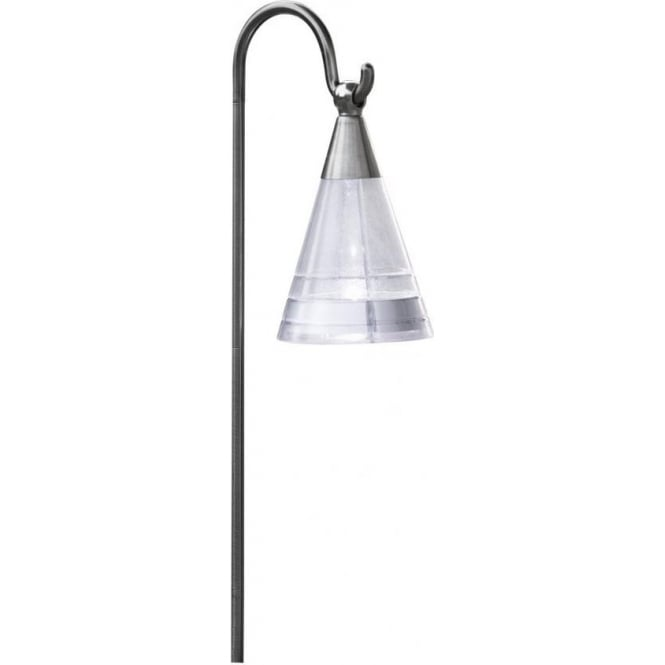 Assisi Led Solar Outdoor Ground Spike Post Light In Silver Finish With Hanging Lantern