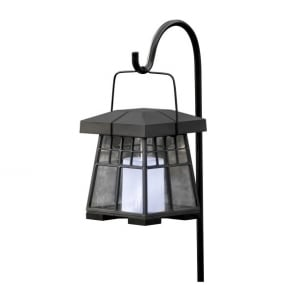 Assisi Led Solar Outdoor Post Light In Black Finish With Hanging Lantern