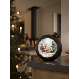 Battery Operated Bronze Bauble Water Lantern with Santa And Child Scene