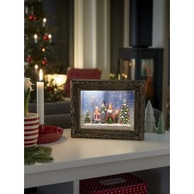 Battery Operated Glitter Water Frame with Choir Scene