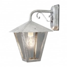 Benu Single Light Outdoor Hanging Wall Lantern In Galvanised Steel Finish With Smoked Glass