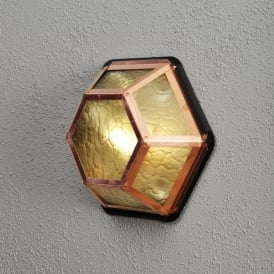 Castor Single Light Outdoor Wall or Ceiling Fitting in Copper Finish