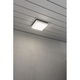 Cesena Single High Powered LED Square Wall Fitting in Aluminium with Opal Glass