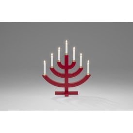 7 Light Candle Bridge Welcome Light In Red Lacquered Wood Finish