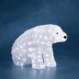 Acrylic Sitting Outdoor Polar Bear With White LED's
