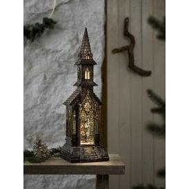 Battery Operated Church Water Lantern with Carol Singer Scene
