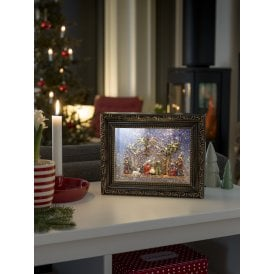 Battery Operated Glitter Water Picture Frame with Nativity Scene