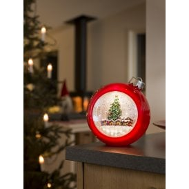 Battery Operated Red Bauble Water Lantern with Marketplace Scene
