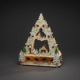 Christmas Tree Wooden Village Silhouette with LEDs