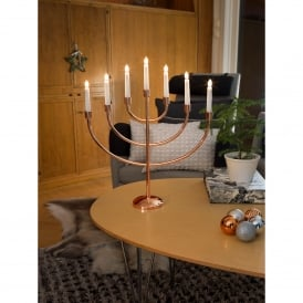 Large 7 Light Candlestick Light in Copper Finish