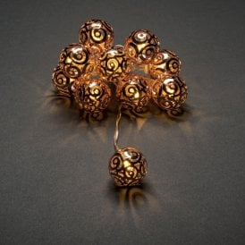 Set of 10 Battery Operated Warm White LED Copper Swirl Metal Balls