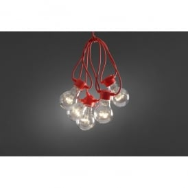 Set of 10 Static LED Clear Festoon Lights with Red Cable