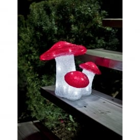 Triple Acrylic Red And White Toadstools With White LED's