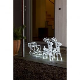 Twinkling Acrylic Reindeer's With Sleigh And 96 White LED's