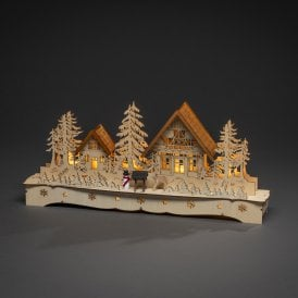 Winter Village Wooden Silhouette with LED