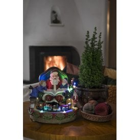 fibre optic led christmas santa with train decoration