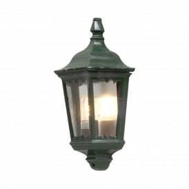 Firenze Single Light Outdoor Flush Wall Fitting in Green Finish