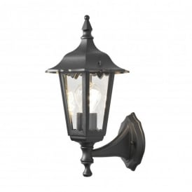 Firenze Upward Single Light Small Outdoor Wall Fitting in Black Finish