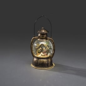 Konstsmide Indoor Water Filled Lantern with Nativity and Warm White LED's