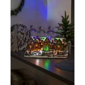 led fibre optic mechanical christmas scene decoration with music