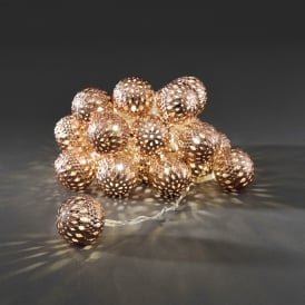 Konstsmide Light Set with 24 Copper Metal Balls with Warm White LED's