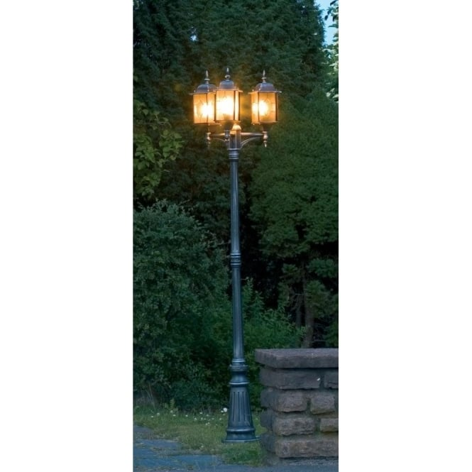 Konstsmide milano medium 3 light garden lamp post in black silver milano medium 3 light garden lamp post in black silver finish aloadofball Image collections