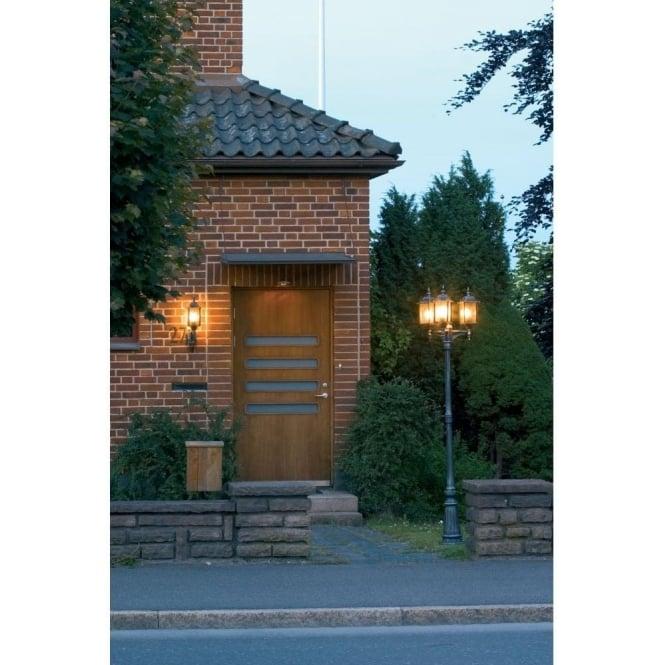 Milano Medium 3 Light Garden Lamp Post In Black Silver Finish