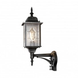 Milano Single Light Upright Wall Lantern in Black Silver Finish with PIR Sensor
