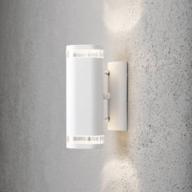 Modena 2 Light Halogen Exterior Wall Fitting in White Finish