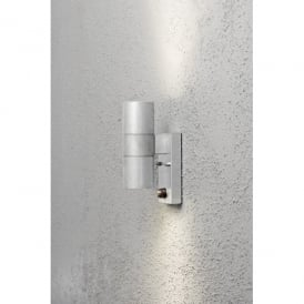 Modena 2 Light Up and Down Wall Fixture in Galvanised Steel with Clear Glass