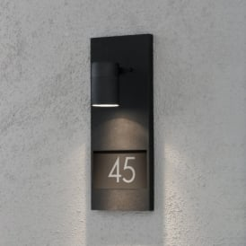 Modena Single Light Halogen Wall Fitting with House Number in Matt Black Finish