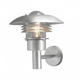 Modena Single Light Outdoor Wall Fitting in Galvanised Steel Finish with Extension