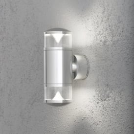 Monza 2 Light LED Outdoor Wall Fixture in Aluminium Finish with Clear Acrylic Glass Top & Bottom
