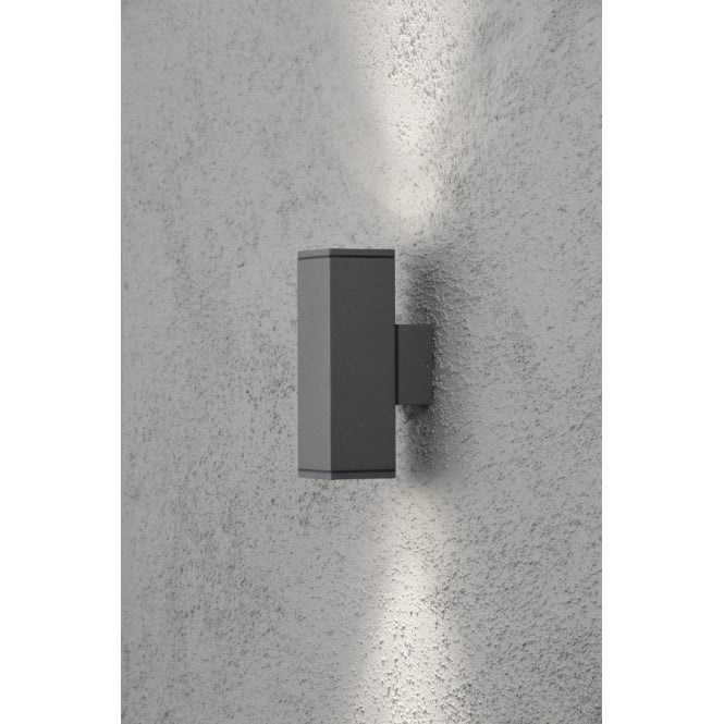 up and down lights modern monza light up and down rectangular external wall fixture in anthracite finish konstsmide