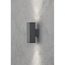 Monza 2 Light Up and Down Rectangular External Wall Fixture in Anthracite Finish