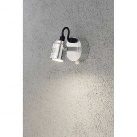 Monza Cylindrical LED Medium Outdoor Wall Fitting in Aluminium with PIR